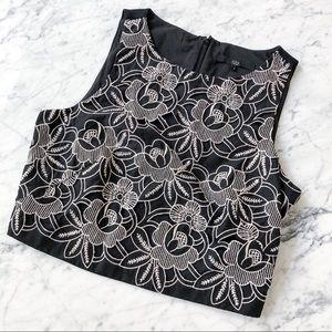 Tibi floral lace crop top
